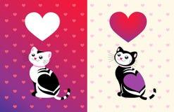 rolig hjärta för katt vektor illustrationer
