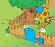 Rolig hund i gården royaltyfri illustrationer