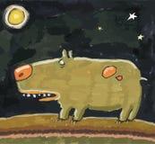 Rolig hund och måne royaltyfri illustrationer