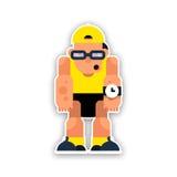 Rolig idrottsman nen för tecknad film i hatten och solglasögon Vektorillustra Arkivfoto