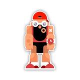Rolig idrottsman nen för tecknad film med ett skägg Isolerad vektorillustration Royaltyfria Bilder