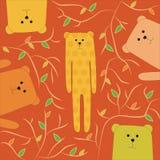 Rolig illustration av den lyckliga björnen Arkivbilder