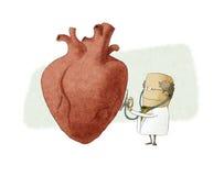 Rolig illustration av en doktor som undersöker en stor hjärta Vektor Illustrationer
