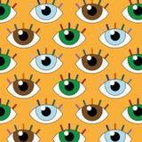 Rolig illustration av sömlösa ögon med fast blick vektor illustrationer