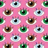 Rolig illustration av sömlösa ögon med fast blick royaltyfri illustrationer