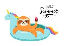 Rolig illustration för sommar med gullig sengångare på enhörningsimbassängflötet Begreppsvektorillustrationer, bakgrund royaltyfri illustrationer