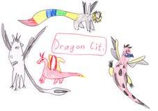 Rolig illustration för teckning för tecknad filmdrakeuppsättning Royaltyfri Fotografi