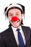 Rolig isolerad clownaffärsman Royaltyfria Bilder
