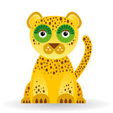 Rolig jaguar på vit bakgrund Royaltyfri Fotografi