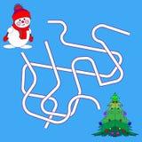 Rolig jul Maze Game: Vektorillustration för nytt år Tecknad filmillustration av banor eller Maze Puzzle Activity Game Ungar som l arkivbilder