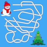 Rolig jul Maze Game: Vektorillustration för nytt år Tecknad filmillustration av banor eller Maze Puzzle Activity Game Ungar som l royaltyfri foto