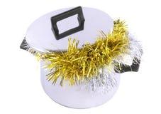 Rolig jul, nytt År-glitter i kastrull Royaltyfria Foton