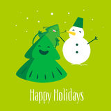 Rolig julgran med det lilla trädet och snögubben lyckliga ferier också vektor för coreldrawillustration Royaltyfri Bild