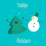 Rolig julgran med snögubben lyckliga ferier greeting lyckligt nytt år för 2007 kort också vektor för coreldrawillustration Royaltyfri Fotografi