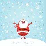 Rolig julkort med Santa Royaltyfri Bild