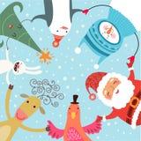 Rolig julkort med Santa Royaltyfria Bilder