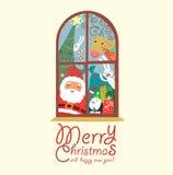 Rolig julkort med Santa Arkivfoton