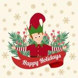 Rolig julkort med trädfilialer och den lilla älvan royaltyfri illustrationer