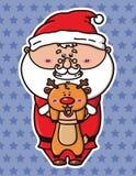 Rolig jultomten och hjortar Arkivfoto