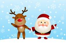 Rolig jultomten och hjortar Royaltyfri Bild