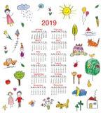 Rolig kalender 2019 med ungeteckningar för barn också vektor för coreldrawillustration vektor illustrationer
