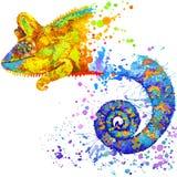 Rolig kameleont med texturerad vattenfärgfärgstänk royaltyfri illustrationer