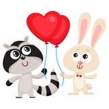 Rolig kanin, kaninen och tvättbjörnen som rymmer röd hjärta formad, sväller Arkivfoton