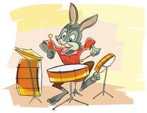Rolig kaninmusiker stock illustrationer