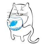 Rolig katt med akvariet Serie av komiska katter Arkivfoton