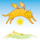 Rolig katt med dekorativa vingar Serie av komiska katter Vektor Illustrationer