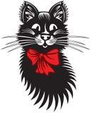 Rolig katt med den röda pilbågen Arkivbilder
