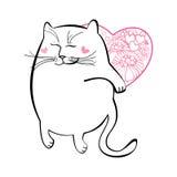 Rolig katt med hjärta Serie av komiska katter Royaltyfri Illustrationer