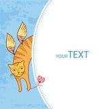 Rolig katt med hjärta Serie av komiska katter Stock Illustrationer