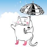 Rolig katt med paraplyet Serie av komiska katter Royaltyfri Illustrationer