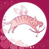 Rolig katt med pilbågen och pilen Serie av komiska katter Royaltyfri Illustrationer