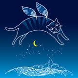 Rolig katt med vingar Serie av komiska katter Arkivbilder