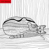 Rolig kattunge - färgläggningboken för vuxna människor - zentanglekattbok Arkivfoton