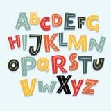 Rolig komikerstilsort Vektortecknad filmalla alfabetet med märker och nummer stock illustrationer