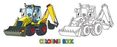 Rolig konstruktionstraktor med ögon för färgläggningdiagram för bok färgrik illustration royaltyfri illustrationer
