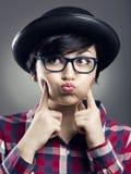 Rolig kvinnlig Nerd arkivfoto