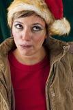 Rolig kvinnlig Santa Arkivbild