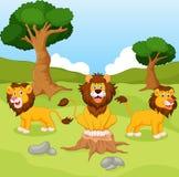 rolig lion för tecknad film Arkivfoton