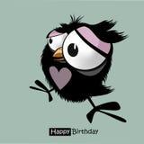 Rolig liten fågel för lycklig födelsedag royaltyfri illustrationer