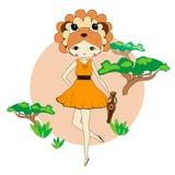 Rolig liten flicka i en dräkt av lejonet Arkivbild
