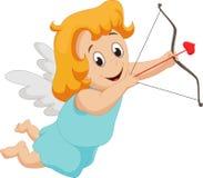 Rolig liten flickakupidon med pilbågen och pilen Arkivbilder