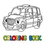 Rolig liten taxibil eller London taxi för färgläggningdiagram för bok färgrik illustration stock illustrationer