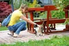 Rolig älskvärd liten flicka som spelar med en katt Royaltyfri Bild