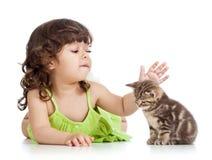 Rolig lycklig barnflicka som leker med kattkattungen Royaltyfri Bild