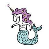Rolig mönstrad förälskad sjöjungfruenhörning, illustration royaltyfri illustrationer