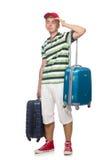 Rolig man med den isolerade resväskan Arkivbild